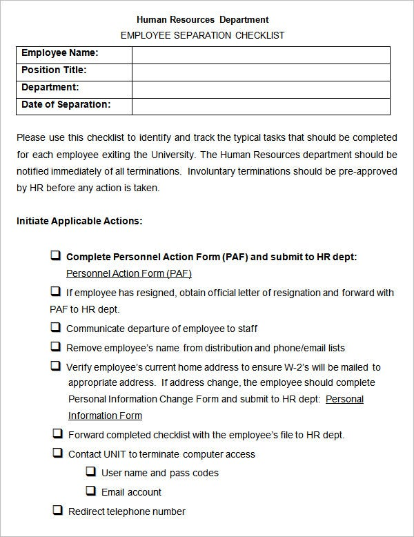 sample human resources employee separation checklist