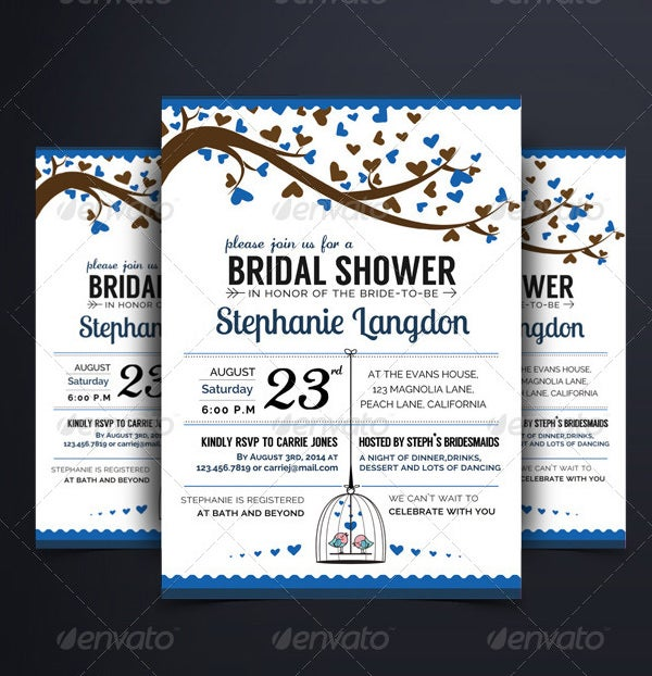sample illustrated wedding shower invitation template
