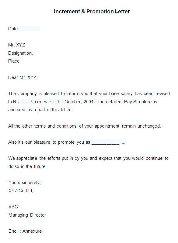 Sample Increment U0026 Promotion Letter  Pay Raise Letter Template