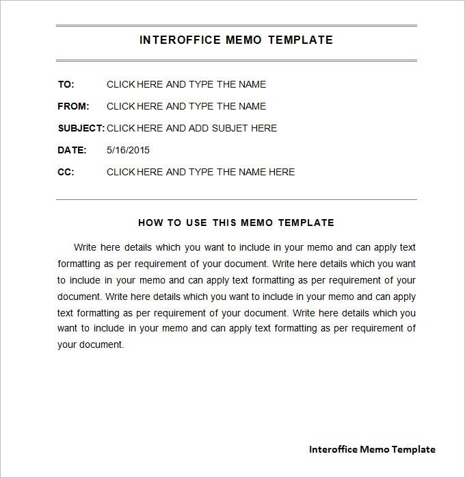 Interoffice Memo Template 7 Free Word PDF Documents Download – Sample of Interoffice Memo