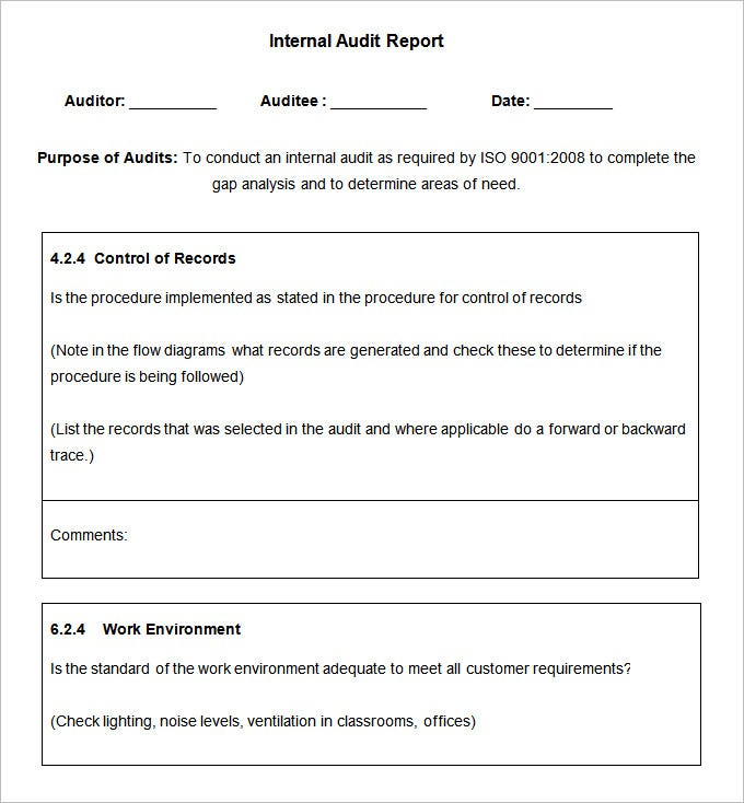 Superior Sample Internal Audit Report Template Download Intended Audit Forms Templates