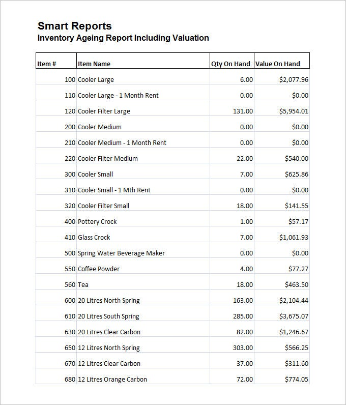 sample inventory ageing report including valuation