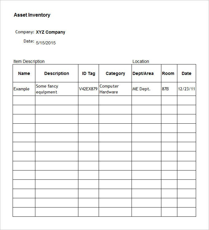 sample inventory template