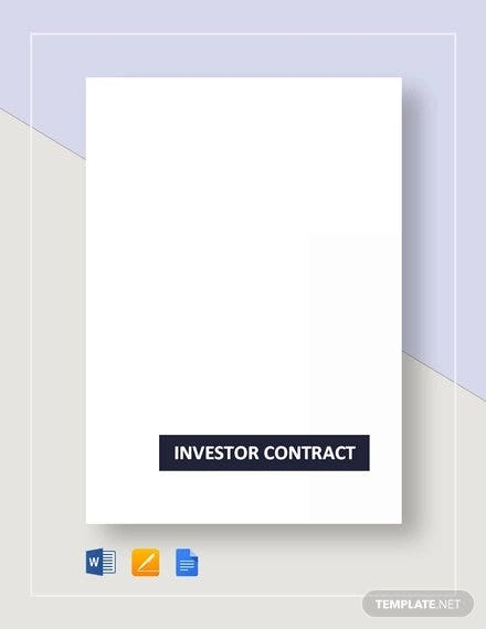 sample investor contract template