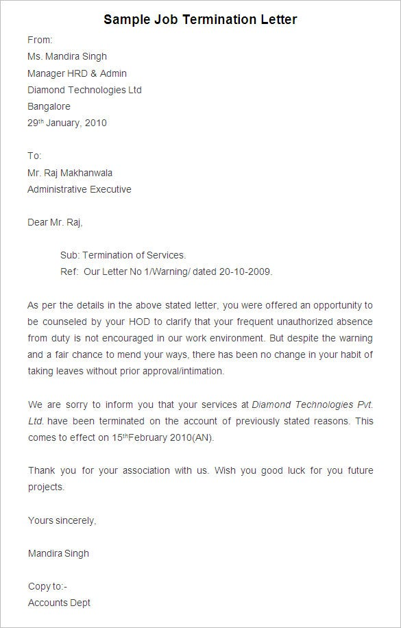 Free Termination Letter Template   Free Sample Example
