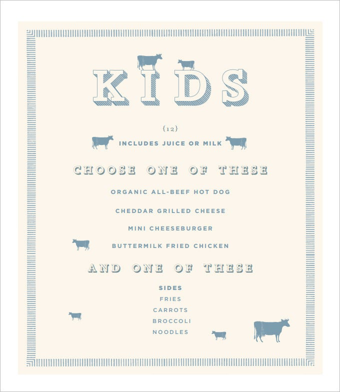 Attractive Sample Kids Menu Template Free Download And Free Kids Menu Templates