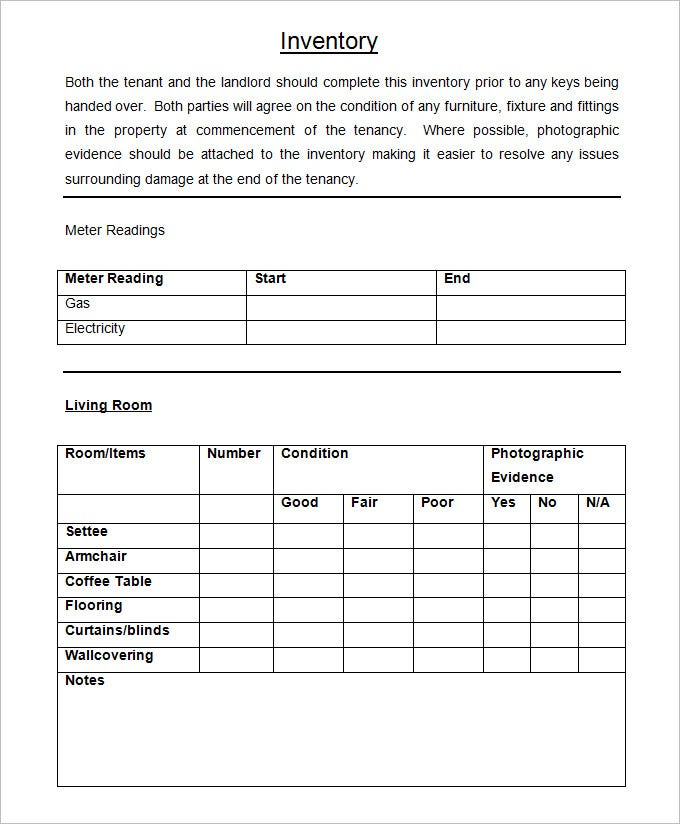 Landlord Inventory Template   Free Word Documents Download  Free