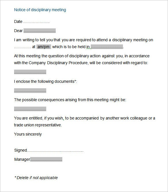 Sample Letter Employee Disciplinary Meeting