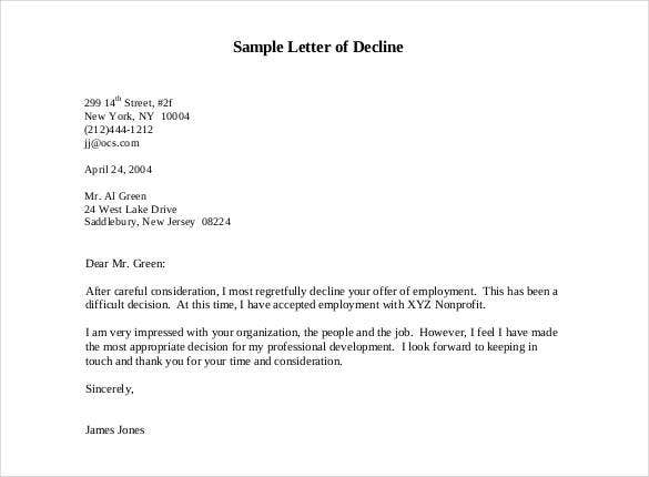 sample letter of decline