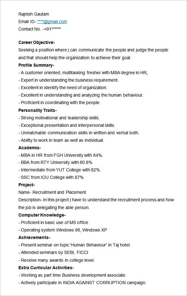hr resume templates hr resume templates