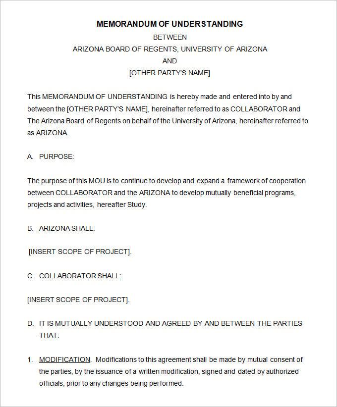 template for a memorandum of understanding - memorandum of understanding template 4 free word pdf