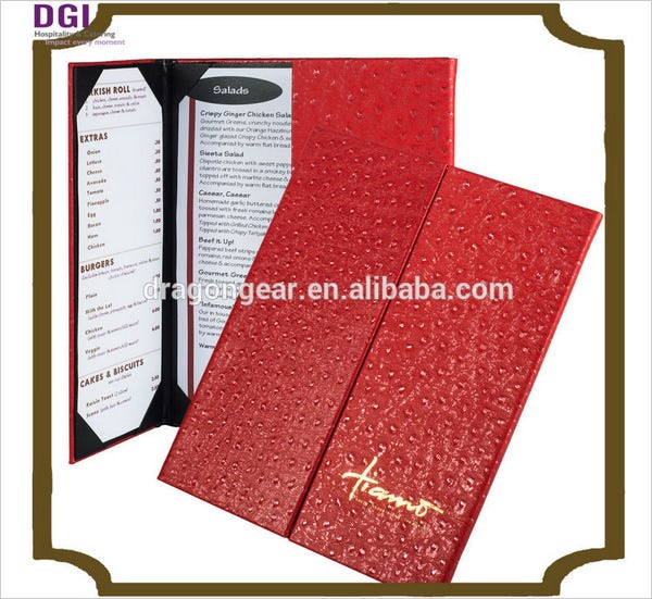 sample menu card for restaurant