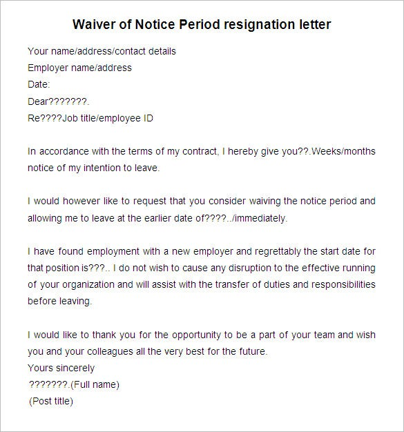 Sample Notice Period Resignation Letter