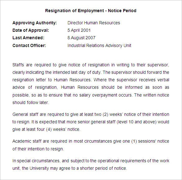 sample notice of staff resignation letter