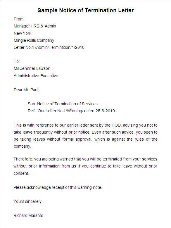 Free Termination Letter Template 30 Free Sample
