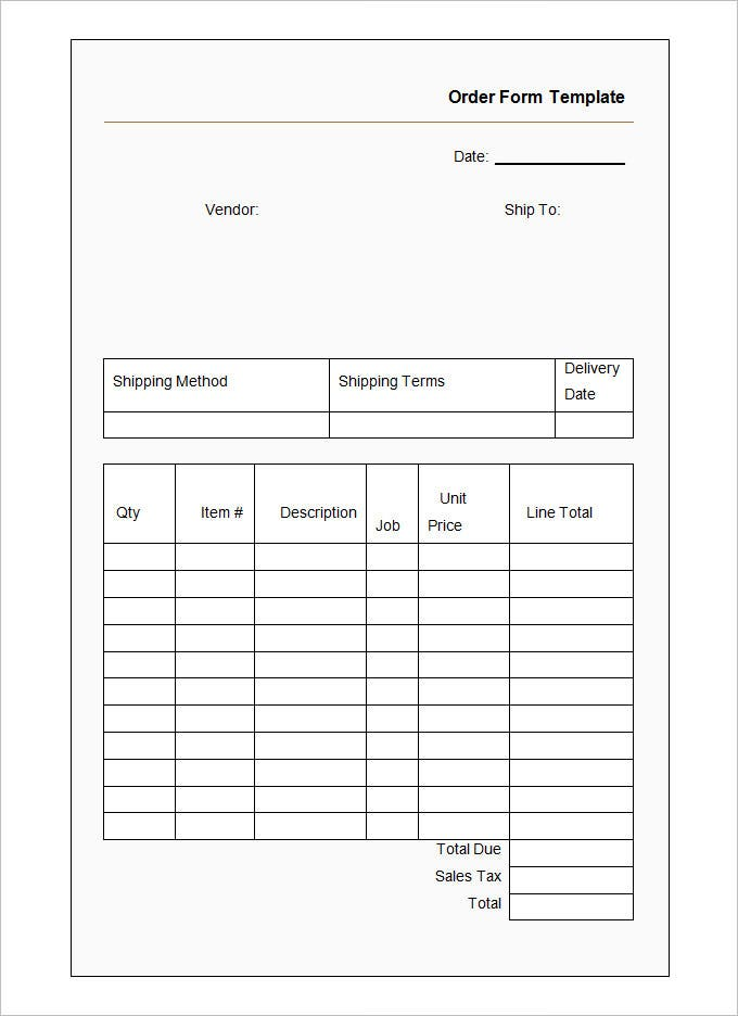 Awesome Sample Order Form Template