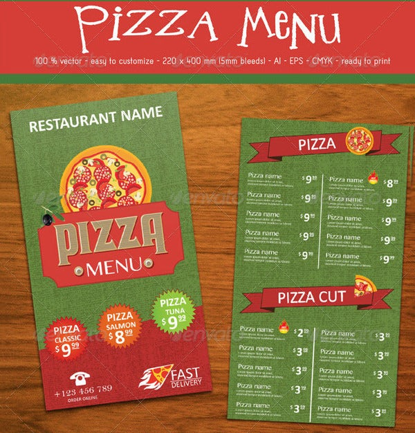 Pizza Menu Templates Free PSD EPS Documents Download Free - Delivery menu template