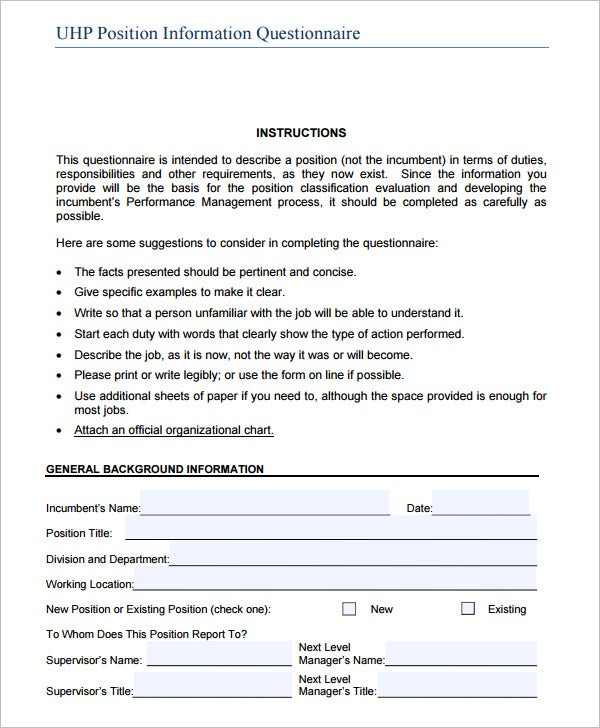 30 hr questionnaires templates hr templates free for Position description questionnaire template