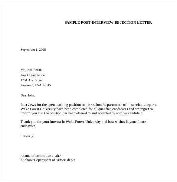 decline a job interview sample letter 27 rejection letters template hr templates free 26861 | Sample Post Interview Rejection Letter