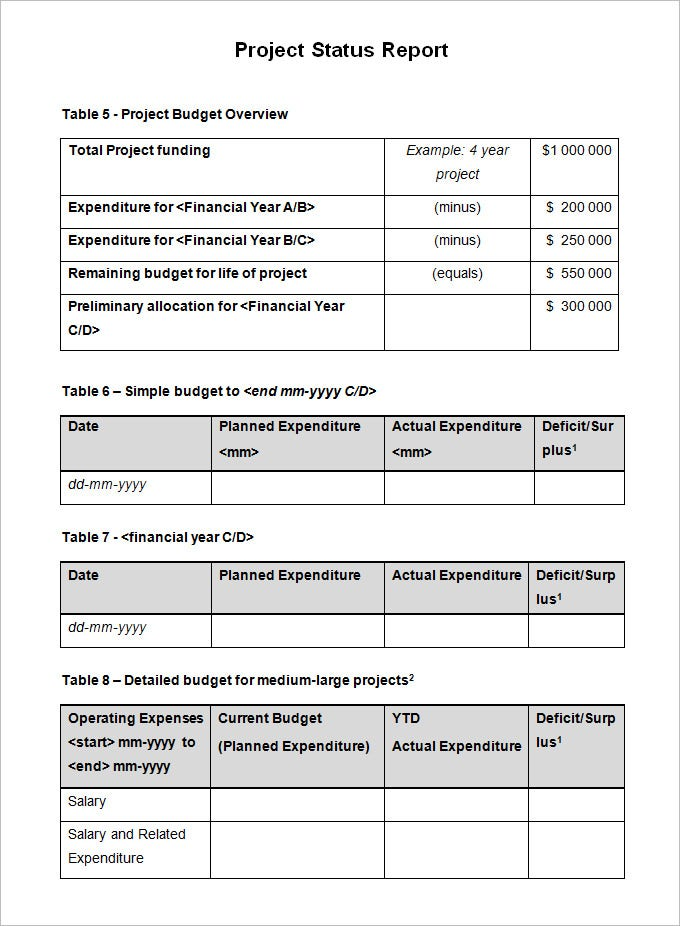 Sample Project Status Report Template 6 Free Word PDF Documents – Progress Status Report Template
