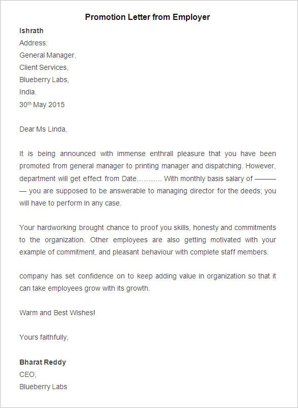 Sample Promotion Letter From Employer