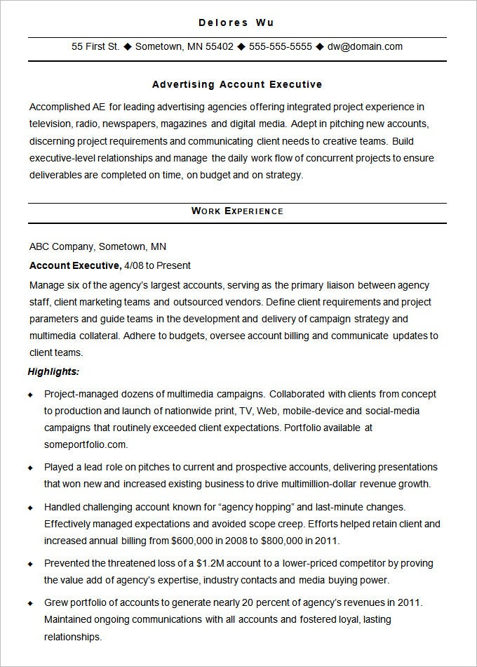 sample resume advertising account executive