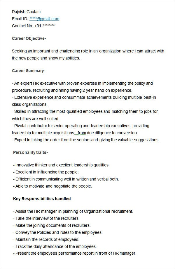 Hr Resumes hr generalist sample resume Sample Resume For Hr Executive