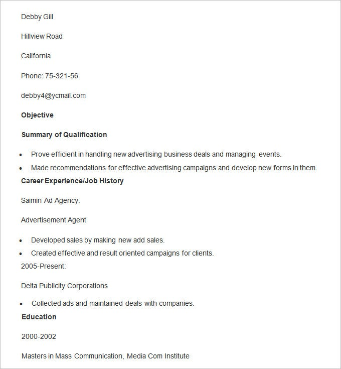 sample resume template for advertising agent - Sample Of Resume Format