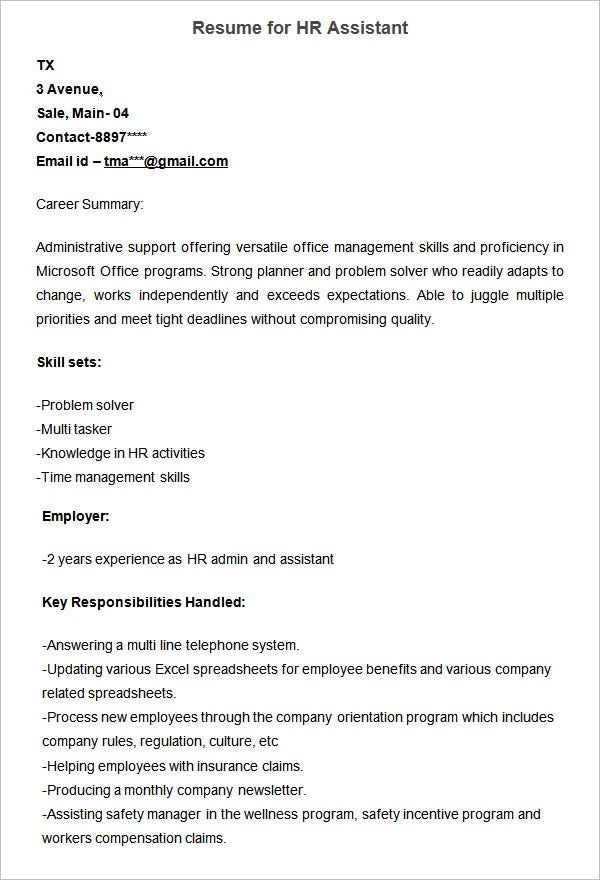 resume sample for hr assistant
