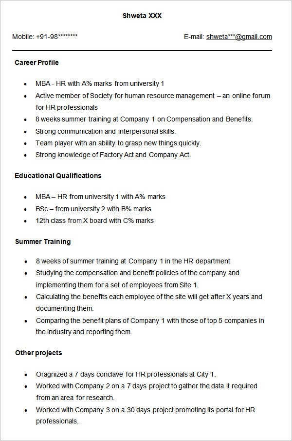 Sample Resume For HR Fresher  Human Resources Resume Examples