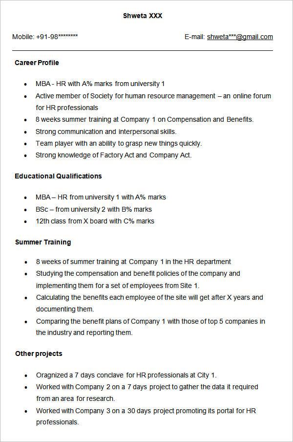 hr resume template hr resume template