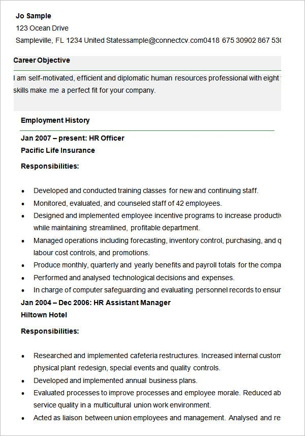 Human Resource Resume. 2 Senior Human Resources Manager Resume Hr ...