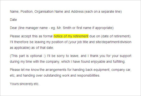 sample retirement notice letter. Resume Example. Resume CV Cover Letter
