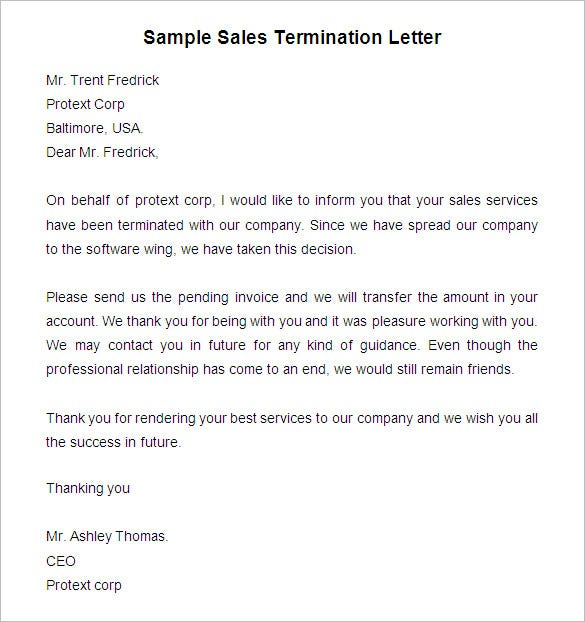 Free Termination Letter Template   32+ Free Sample, Example, Format  Download | Free U0026 Premium Templates  Employment Termination Letter Template