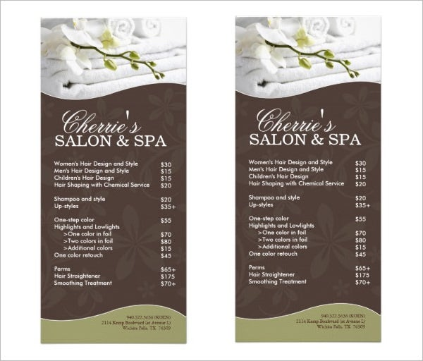 sample salon spa menu template