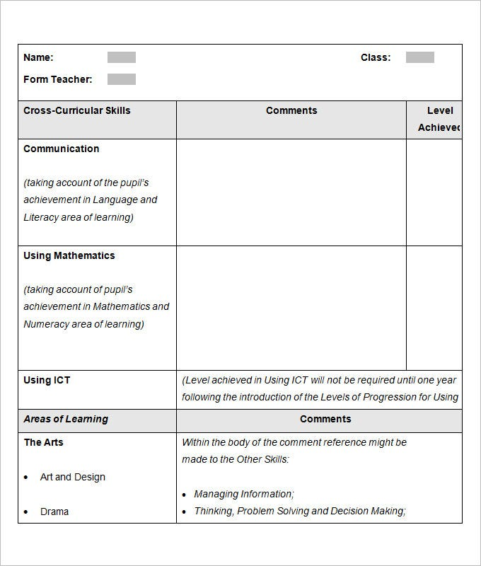 Sample School Report Templates Examples 10 Free Word PDF – Report Template