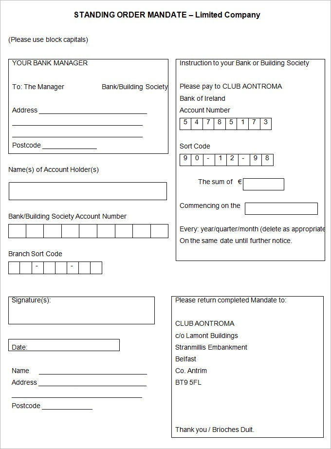 Standing Order Template 9 Free Word PDF Documents Download – Account Form Template