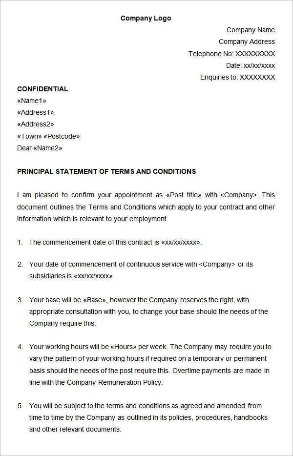 statement of terms and conditions of employment template 22 hr contract templates hr templates free premium