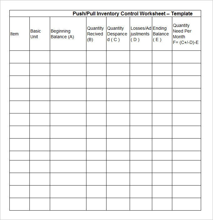 equipment inventory forms templates