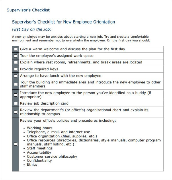 sample supervisors checklist for new employee orientation
