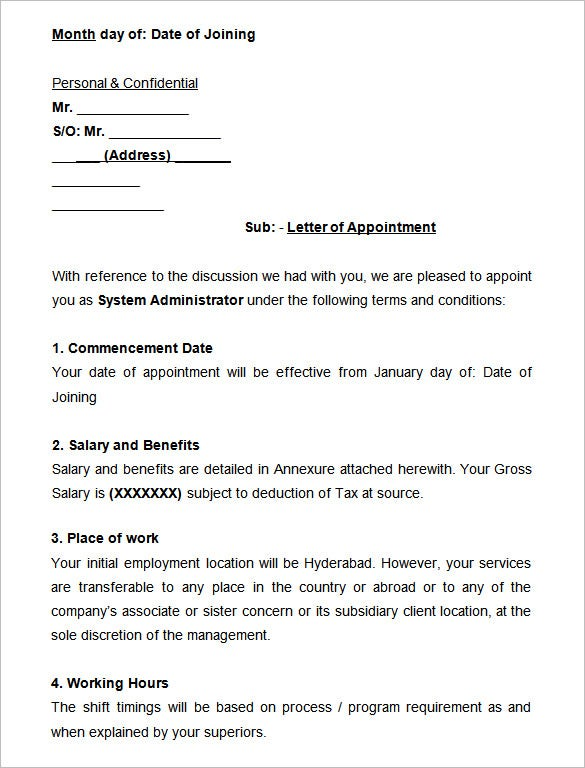 Sample System Administrator Appointment Letter  Letter Of Appointment