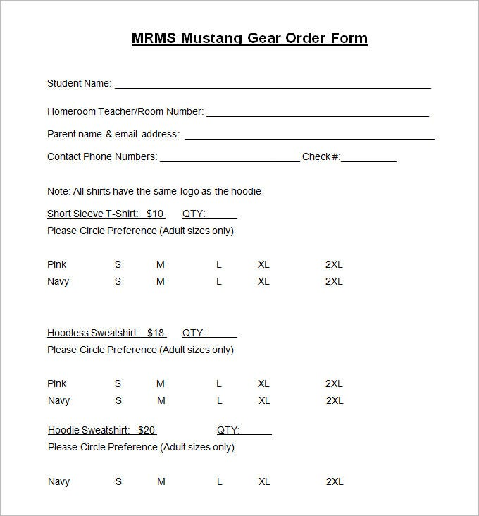 TShirt Order Form Template   Free Word Pdf Format Download