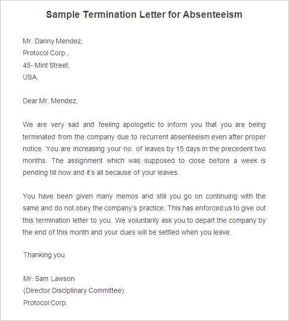 Free Termination Letter Template 31 Free Sample Example – Samples of Termination Letter