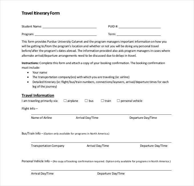Itinerary Of Travel Form  Blank Calendars
