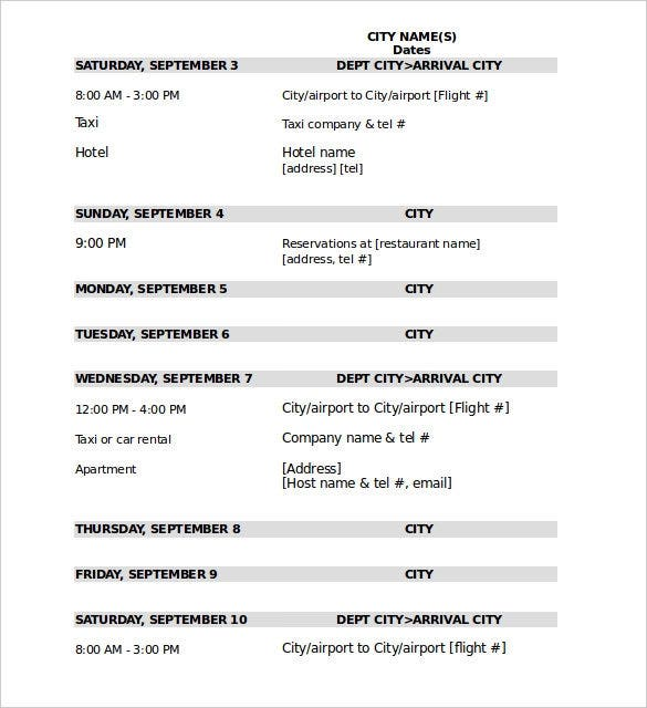 sample travel itinerary template excel format download