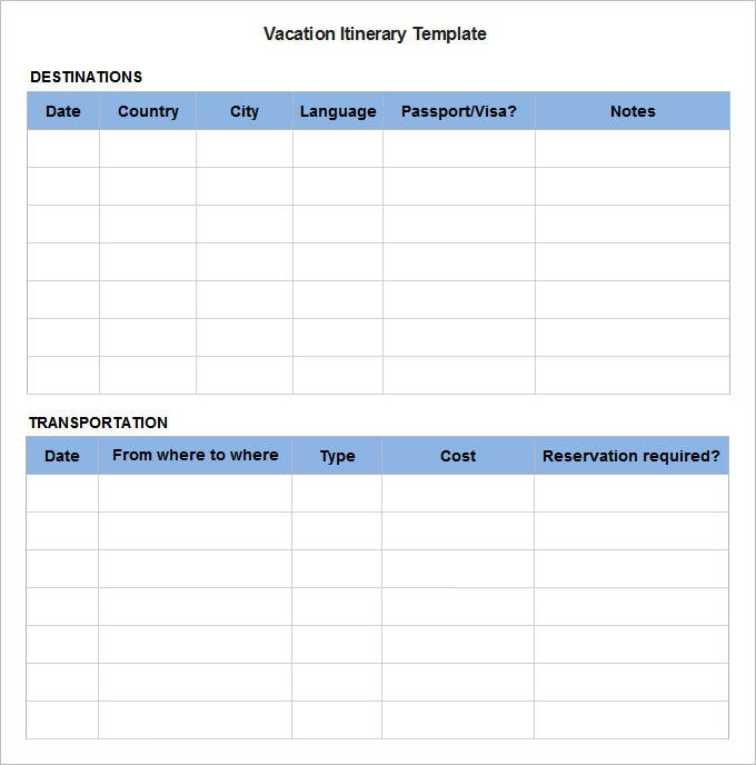 graphic about Printable Itinerary titled 9+ Pattern Blank Itinerary Templates - Document, PDF Absolutely free