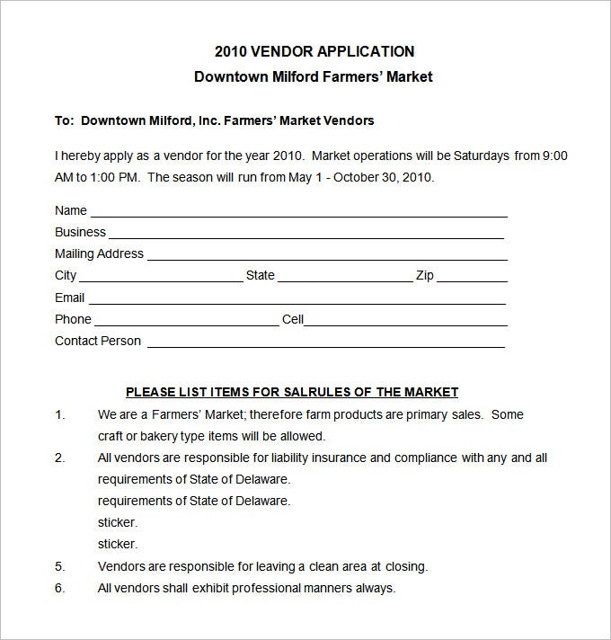 sample vendor application template pdf free download