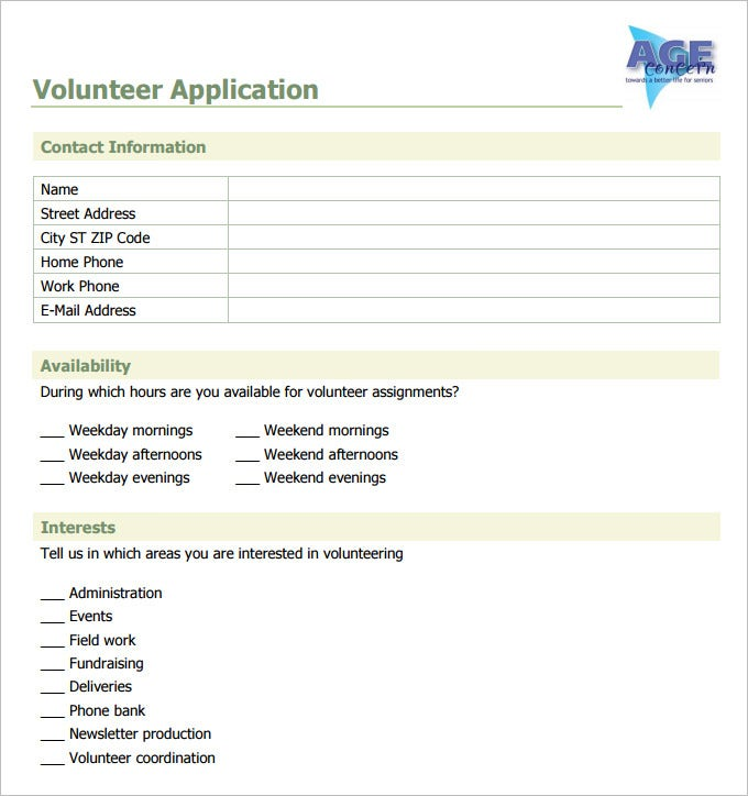 Sample Volunteer Lication Template