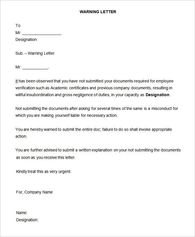 sample warning letter notice