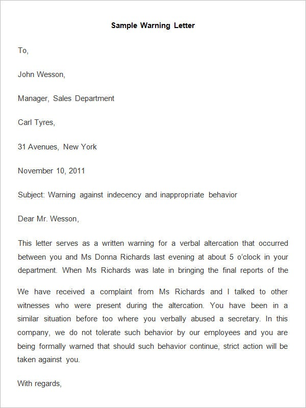 sample job letter warning example hr format 33 premium letters free sample